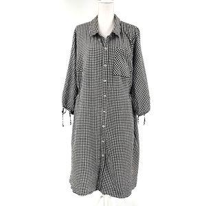 Ava & Viv Gingham Shirt Dress 3X Smocked Sides